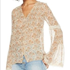 Paige Clio Bohemian Gypsy Bell Sleeve Silk Top
